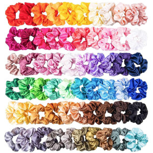 60 pcs Hair Scrunchies Silk Sa