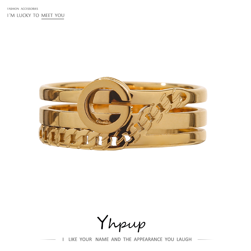 Yhpup Trendy Letter G Ring Women 316L Stainless Steel Metal Jewelr Trendy Gold Color 18 K Statement Finger Ring Anillos Mujer 1