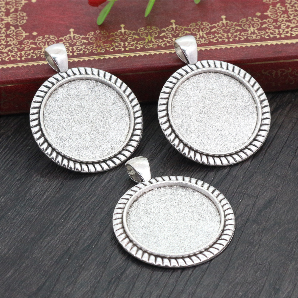New Fashion  3pcs 25mm Inner Size Antique Silver Plated Stripes Cameo Cabochon Base Setting Charms  Pendant (A5-21)