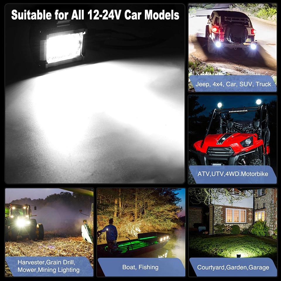200W 7/'/'Car LED Work Light Bar Spot Flood Beams Combo For Off-road SUV Truck Car