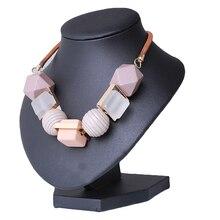 Женское колье из массивного дерева ожерелья, круглая, квадратная, геометрические кулоны ожерелья Модные женские ювелирные изделия