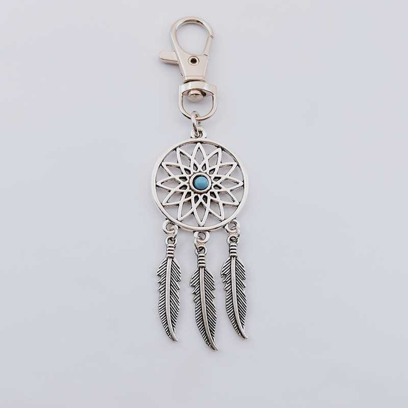 מפתח טבעת מפתח שרשרת נוצת גדילים לוכד חלומות קסם תליון Keyring Keychain