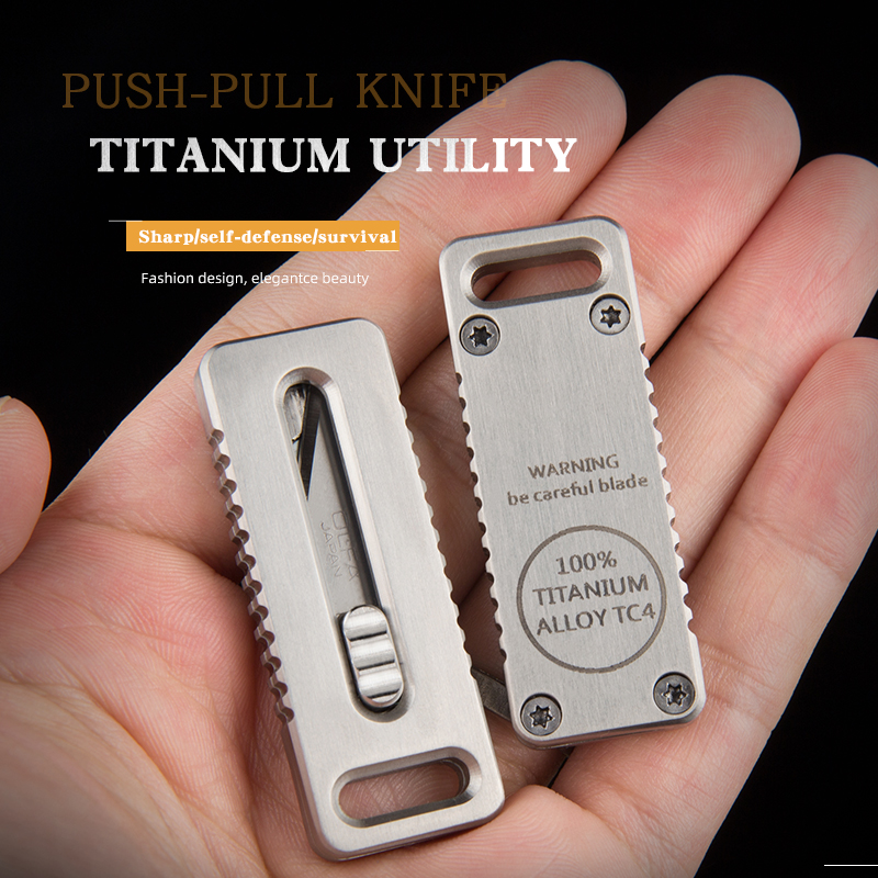 Titanium alloy pocket knife engraved Self-Defense gadget Carry it with you for security check High strength corrosion resistance