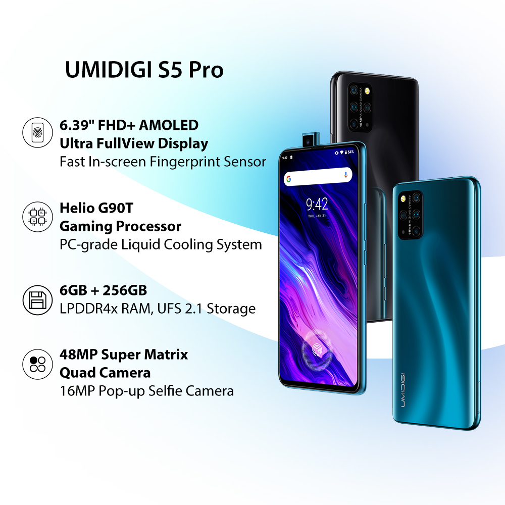 In Stock UMIDIGI S5 Pro Helio G90T Gaming Processor 6GB 256GB Smartphone FHD+ AMOLED In-screen Fingerprint Pop-up Selfie Camera 1