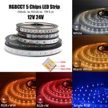 Bande lumineuse RGB + CCT LED, 12mm PCB DC12V/24V 60/96 diodes/m 5 en 1 CW + RGB + WW RGBW RGBWW, flexible, étanche, blanc chaud