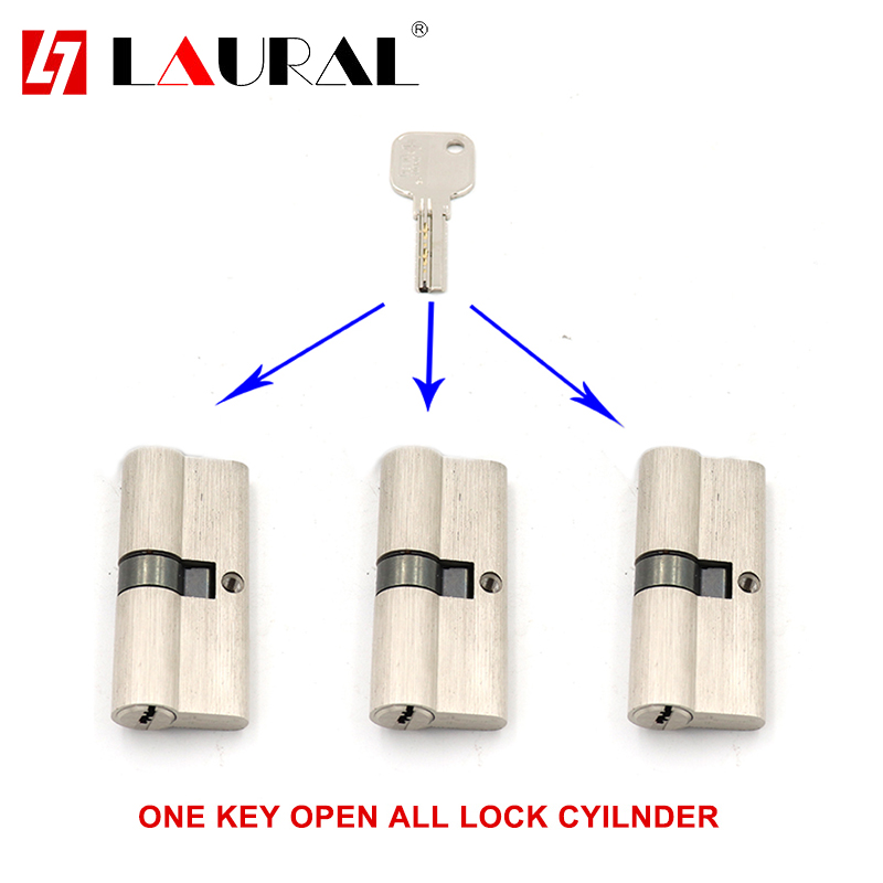 One Key For All Double Cylinder 60 65 70 75 80 90 100 Security  Copper  Lock Cylinder   Bedroom  Living  Handle  Brass Key