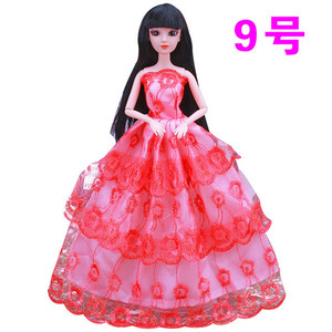 30cm Bjd Doll ClothesBaby Fashion Wedding Dress Princess Doll Clothes Party Gown Skirt Gifts for Girl DIYDoll Toy ChristmasGift(China)