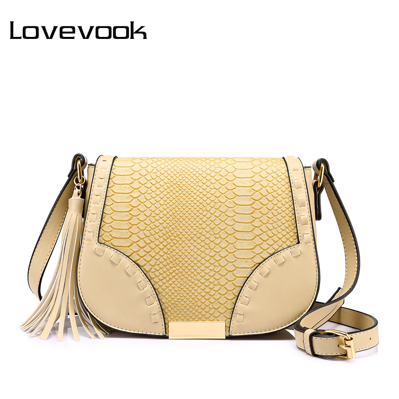 LOVEVOOK Women Shoulder Crossbody Bag Female Messenger Bags With Tassel High Quality Ladies Bags Beige/Brown/Gray Saddle Retro