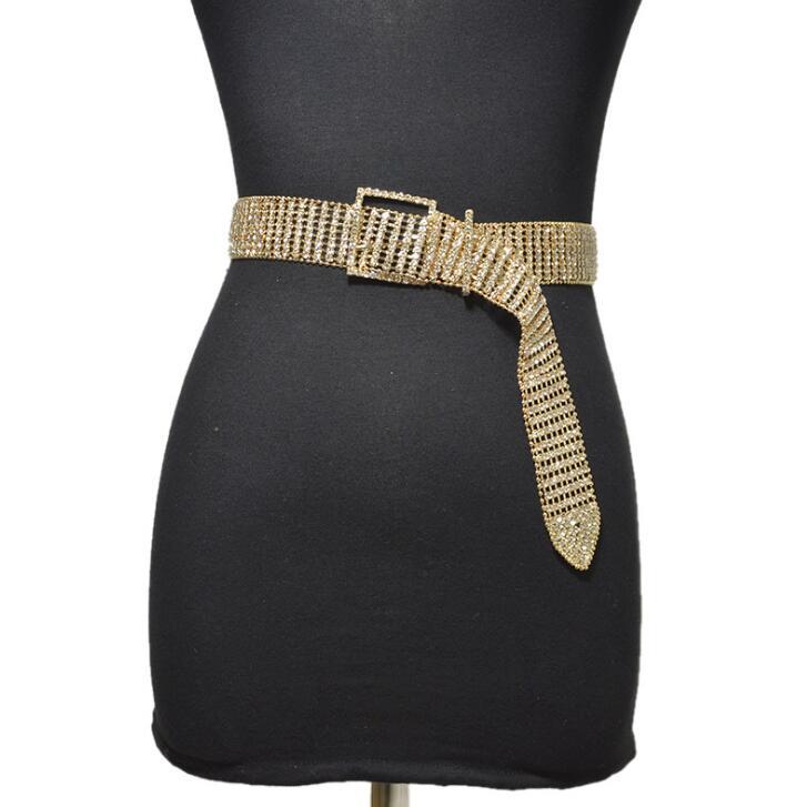 Women's Runway Fashion Shiny Diamonds Beaded Metal Cummerbunds Female Dress Corsets Waistband Belts Decoration Wide Belt R2015