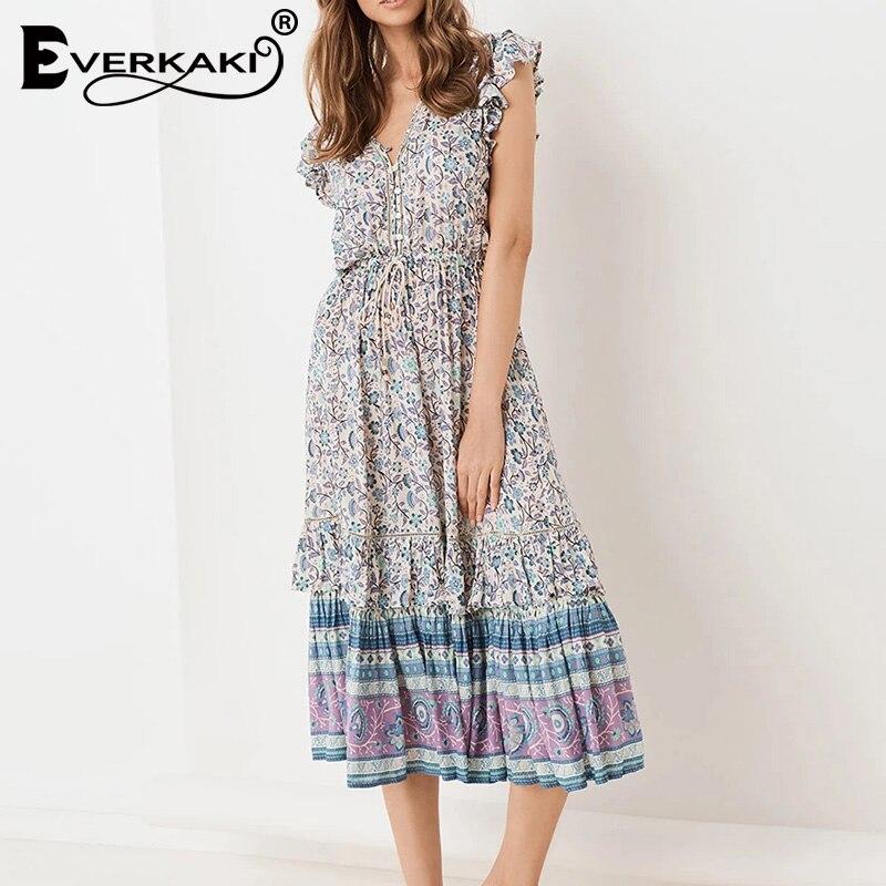 Everkaki Boho Floral Print Long Dress Women Sashes Adjustable Waist V Neck Gypsy Ladies Maxi Dresses Female 2019 Autumn New