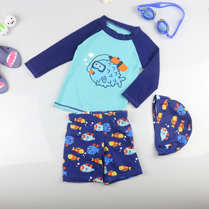 KID'S Swimwear BOY'S South Korea Baby Boy Split Type Sun-resistant Swimwear Quick-Dry Warm Hot Springs Clothing Surfing Suit Lon