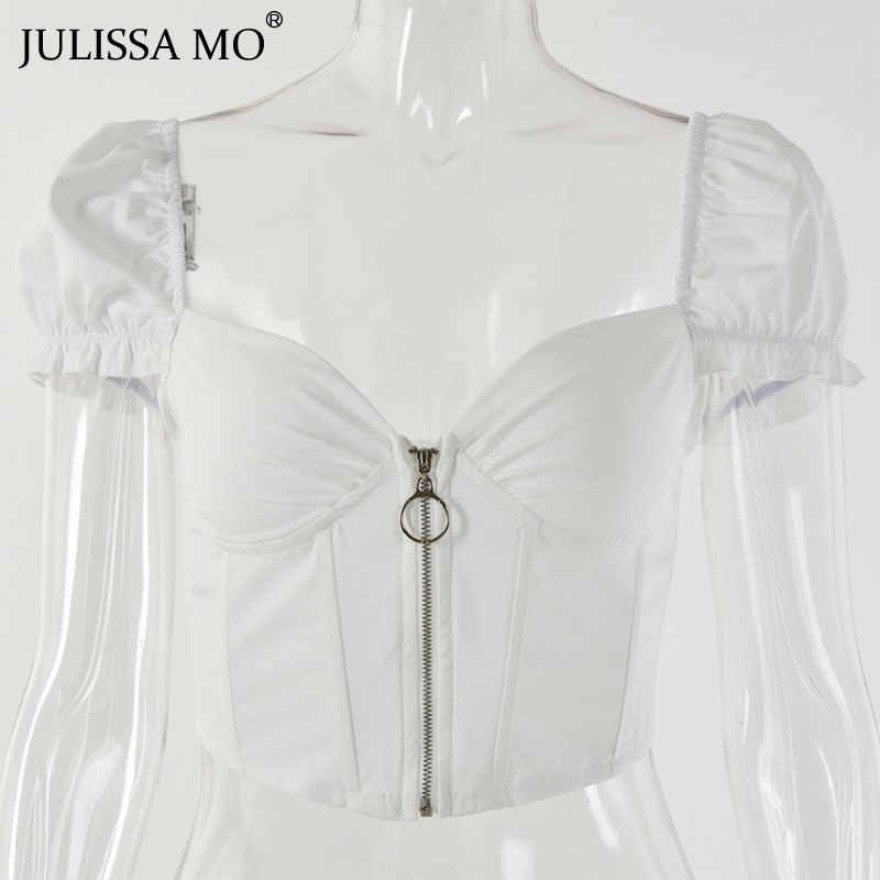 JULISSA MO 섹시한 V 넥 코르셋 자르기 탑 여성 패션 주름 지퍼 여름 탱크 탑 2019 비치웨어 캐주얼 백리스 여성 탑스