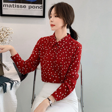 Fashion Women Shirts Chiffon 2019 Autumn New Wave Point Shirt Long Sleeve Sexy Style Retro Loose Tops 939J7