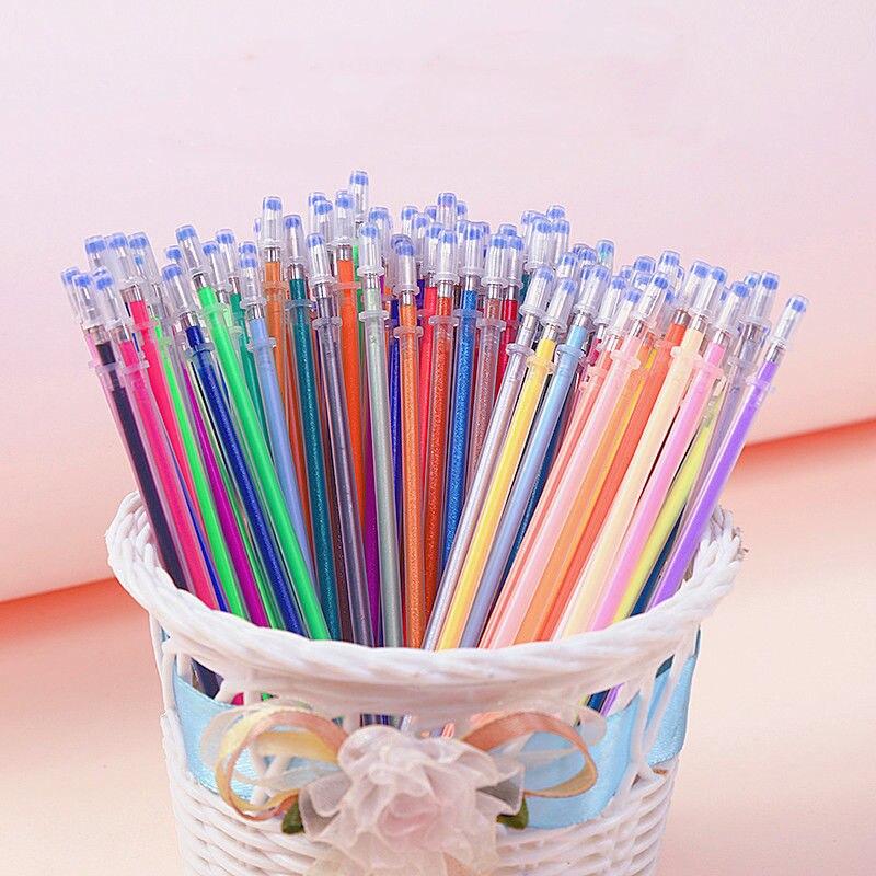 Стержень для заправки гелевых ручек 100 мм, 0,7 цветов, разноцветные гелевые чернила для рисования, цвет металлик, Пастельная неоновая фотогра...