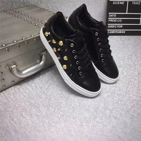 Lace Up Rivets Man Vulcanize Shoes Flats Male Dancing Daily Footwear Sneakers Man Shoes Fashion 2019