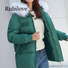 Rubilove Winter Women Warm Jacket 2019 New Style Fashion Hooded Thickening Cotton Coat Casual Loose Large size Female Parkas