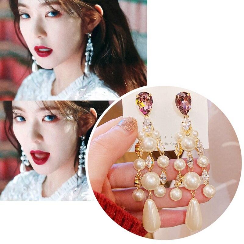 MENGJIQIAO New Korean TV Star Vintage Pearl Tassel Dangle Earrings For Women Elegant Crystal Earings Party Jewelry Gifts