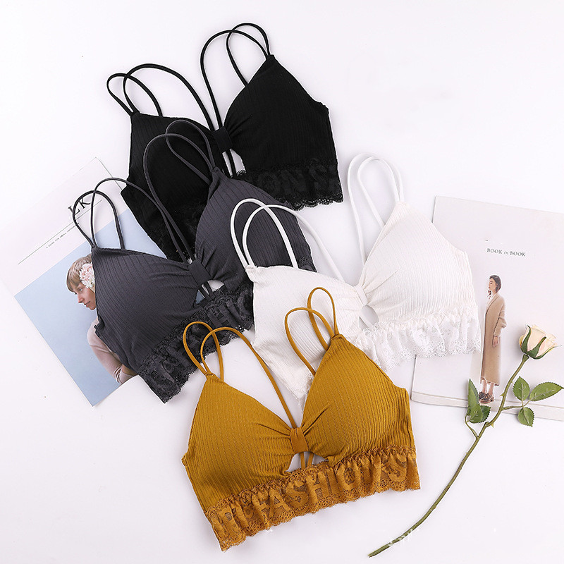 Sexy Sport Bra Yoga Top Cotton Sports Bra Breathable Strap Underwear Chest Pad Wrapped Chest Activewear Women Fitness Top Bra