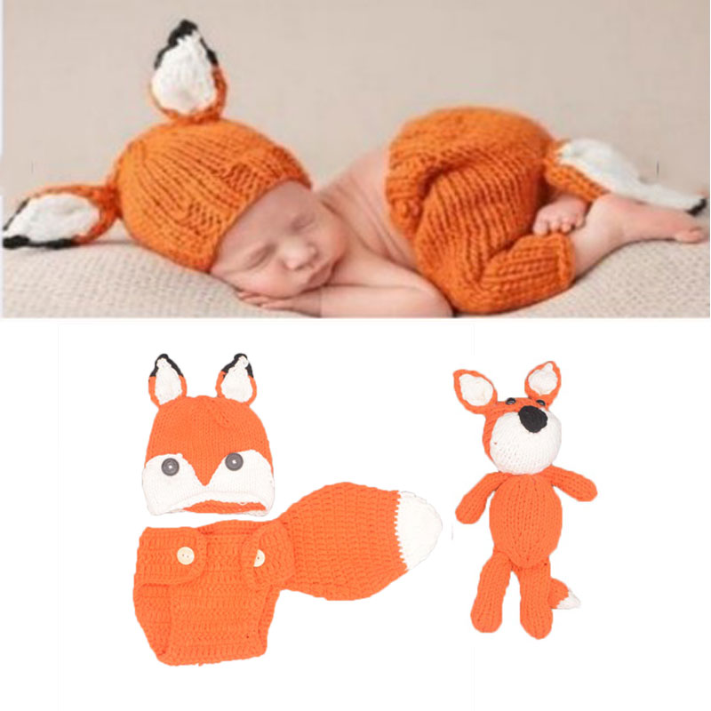 Newborn Photography Props Fox Boy Accessories Girl Boys Clothing Crochet Baby Clothes Infant Costume Crotheted Outfit