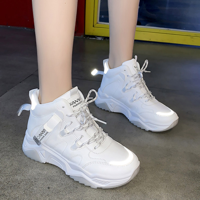 Women's Shoes White Sneakers High Top Lace Up Platform Sneakers Female Casual Shoes Running Fashion Sturdy Sole