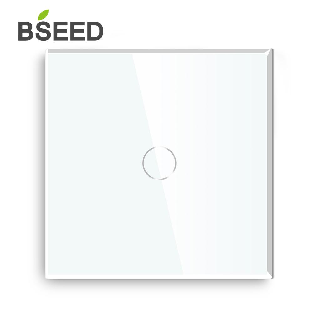 Bseed 1 Gang Way 2 Touch Switch EU UK Standard Black White Golden With Glass Crystal Panel Light
