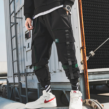 New Arrival Fashion Casual Street Ribbons Mens Jogger Trousers Hip Hop Autumn Safari Style Pencil Pants Pockets Streetwear