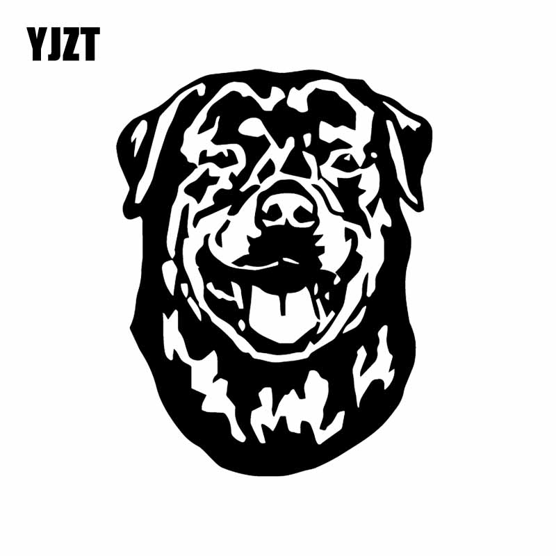 YJZT 12.4X16CM Rottweiler Dog Vinyl Decal Car Sticker Cute Cartoon Animal Art Decor Black/Silver C24-1116