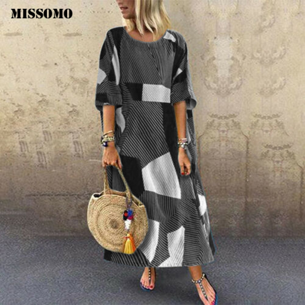 MISSOMO Women's Batwing Maxi Dres Long Shirt Dress Casual Plus Size Summer Women Dress Long Dresses Linen Hem Baggy Kaftan Cloth