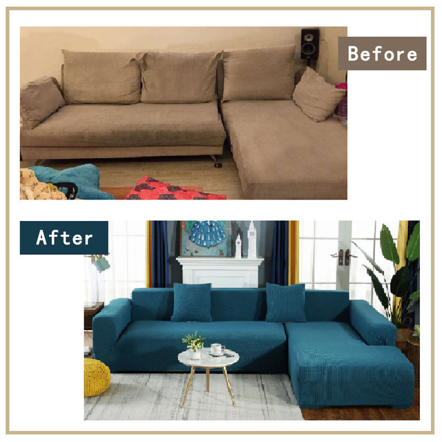 Solid Plain Patterned Sofa Cover 5
