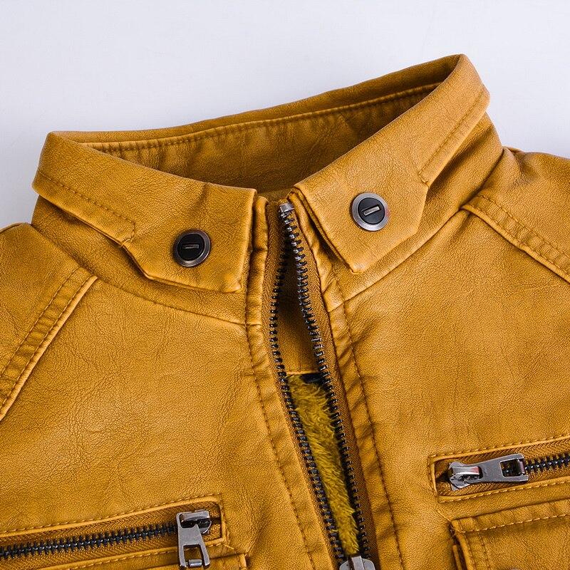 H1773ba68dca347cdb167ec1861072d76u Luxury 2019 Leather Jackets Men Autumn Fleece Zipper Chaqueta Cuero Hombre Pockets Moto Jaqueta Masculino Couro Slim Warm Coat