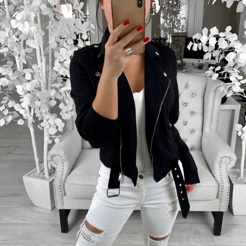 Autumn Women Black Slim Cool Lady   Jackets   Female Zipper Femme Outwear Pockets Plus Size Coats Long Sleeve   Basic     Jackets
