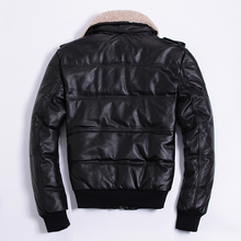 Winter Jacket Genuine Cowhide Leather Jackets Duck Down Coat for Men Plus Size 2020 Doudoune HommeHA-805 KJ1143 cheap REGULAR Casual zipper Full Zippers Pockets Thick (Winter) Lace Polyester White duck down NONE 300g Solid Short chaqueta cuero hombre