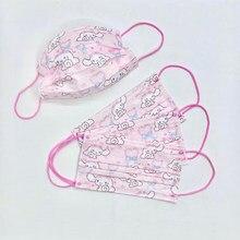Mascarilla facial con estampado para niños de 0 a 3 años, máscara de tela no tejida para adultos, de color rosa, con base, con diseño de perro, 95, 50 Uds.