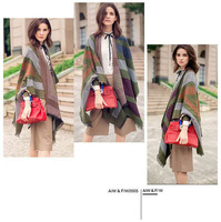 Autumn and winter style oversized shawl open fork imitation cashmere scarf 100 double use thickening to keep warm outside cloak
