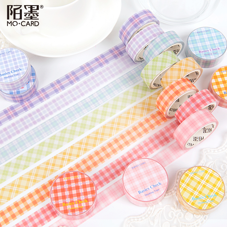 Grid Washi Tape Set Colorful Writable Paper Adhesive Masking Tapes 15mm For Scrapbooking Journaling Diary