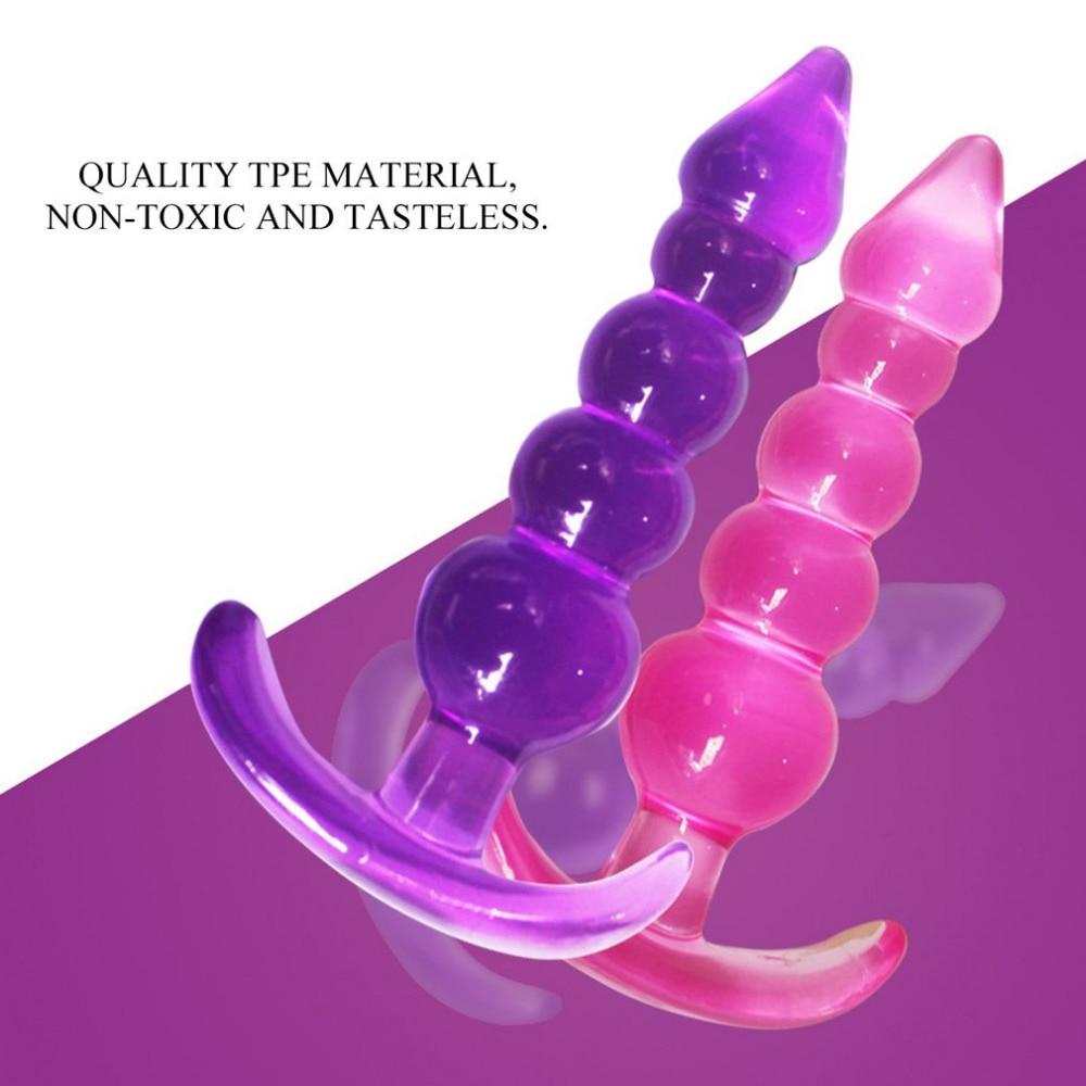 Soft TPE 5 Beads Anal Butt Plug Suction Cup Prostate Massager Ball No Vibrator Masturbator Anal Dilator Sex Toys For Women Men