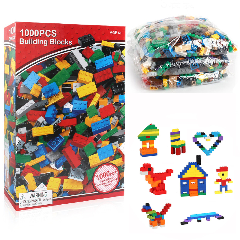 <font><b>1000</b></font> <font><b>Pcs</b></font> Building Bricks Set DIY Creative Brick Kids Toy Educational Building Blocks Bulk <font><b>Compatible</b></font> with Blocks image