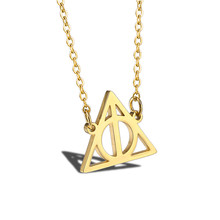 Women Necklace Stainless Steel Gold Chain Jewelry Accessories Triangle Inspired Deathly Hallows Movie Potter Pendant Necklaces s s toys игрушечный холодильник