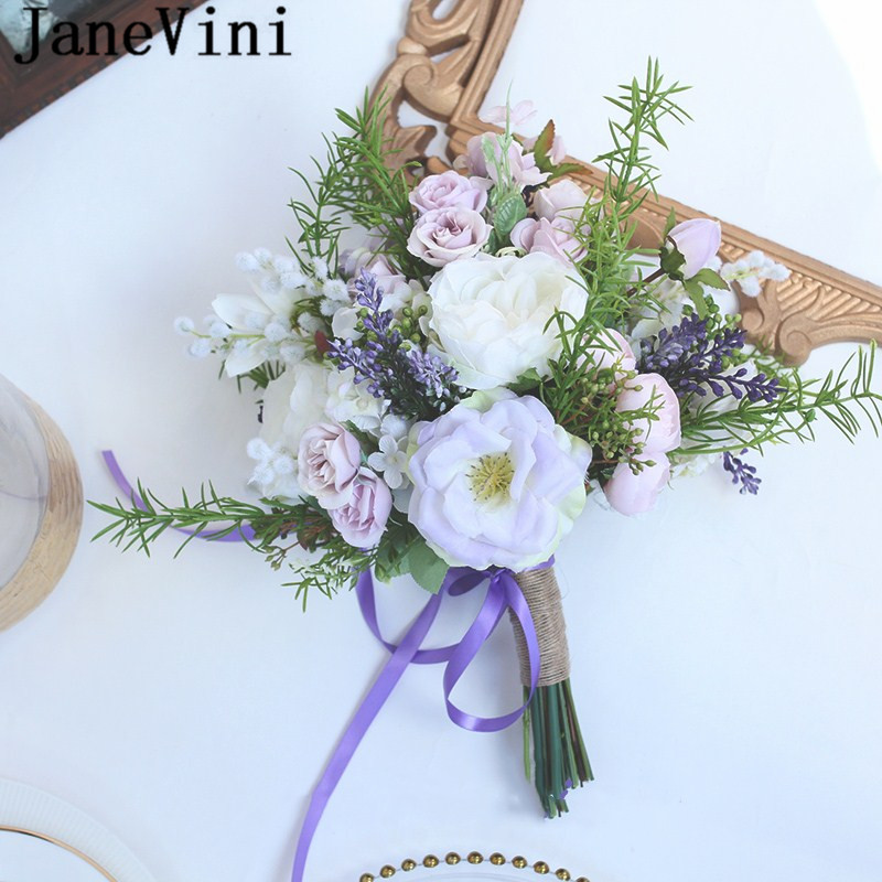 JaneVini Paarse RozenPurple Lavender Rose Bride Bouquets Silk Flowers Hand Holder Bridesmaid Bridal Bouquet Wedding Accessories