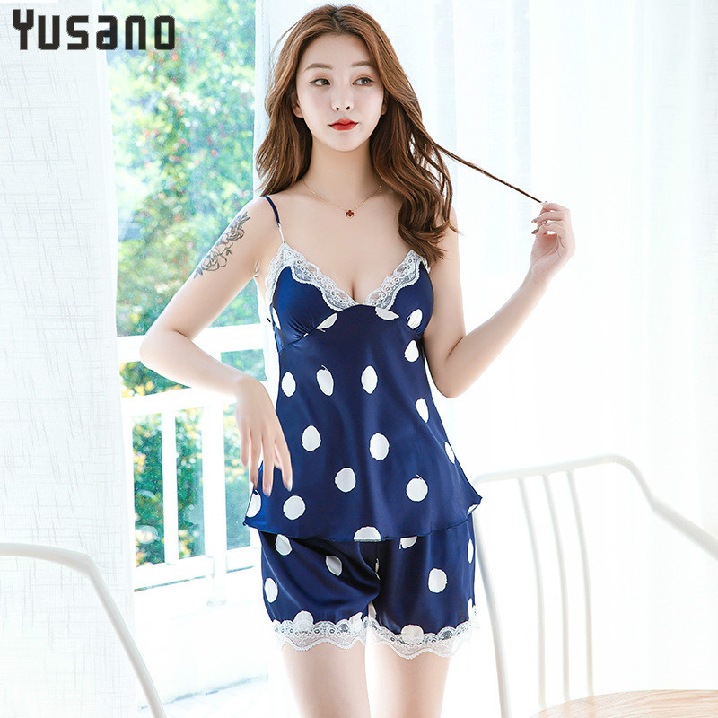 Women's Sleepwear Sexy V-Neck Pajama Set White Lace Pyjamas Sleeveless Two Piece Set Women Sleepwear Silk Pajamas Homewear