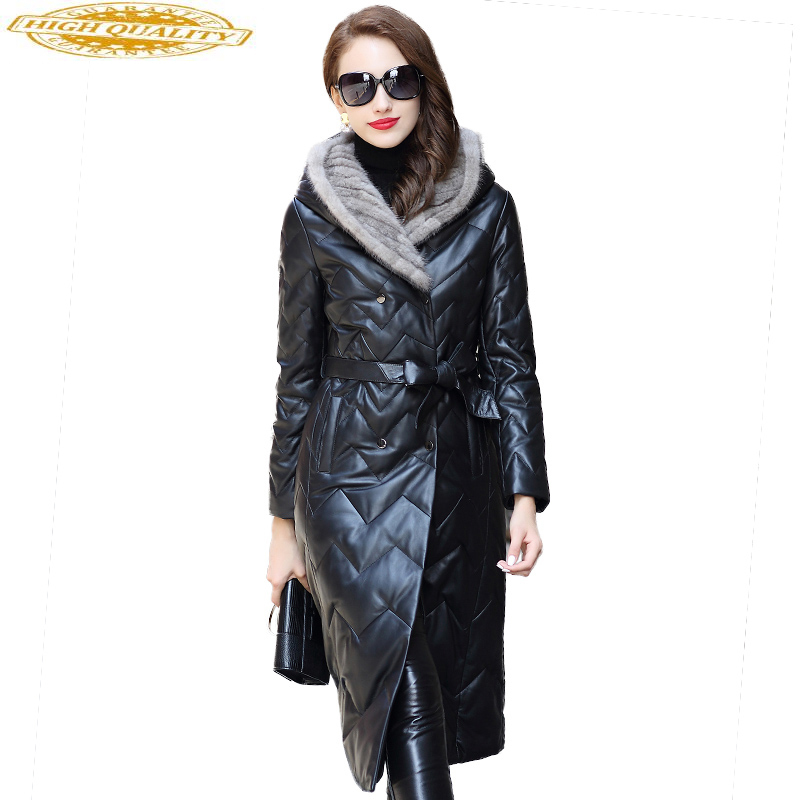2020 Genuine Leather Jacket Real Sheepskin Coat Natural Knitted Mink Fur Hooded Long Women's Down Jackets HQ18-CJX0095B
