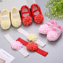 2019 Brand New Toddler Kids Baby Girls Boys Bowknot Shoes +Headband 2PCS Lace Floral Soft Shoes Spring First Walkers 0-18M(China)