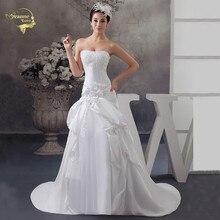 Vestido De Noiva 2019 Fashion Strapless Wedding Dresses Taffeta Ruched Beading Bridal Gowns On Sale Free Shipping Bride