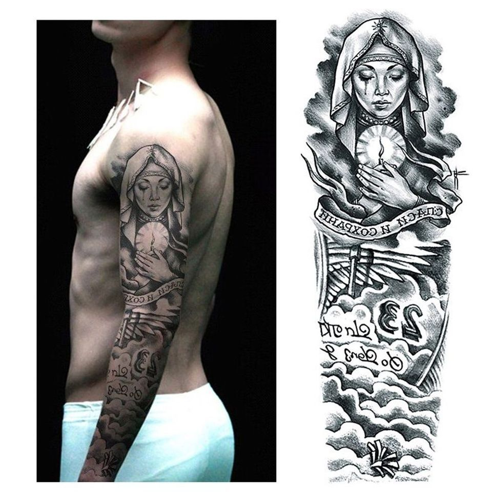 Removable Temporary Tattoo Sticker Large Arm Sticker Body Art Tattoos Sticker Waterproof Sent Random Tattoo Accessories Temporary Tattoos Aliexpress