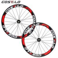 Costelo Thru Axle 6 Bolt Disc brake carbon road bike wheels 700C 50mm Clincher Carbon Wheelset Tubuar 25mm U shape cyclocross