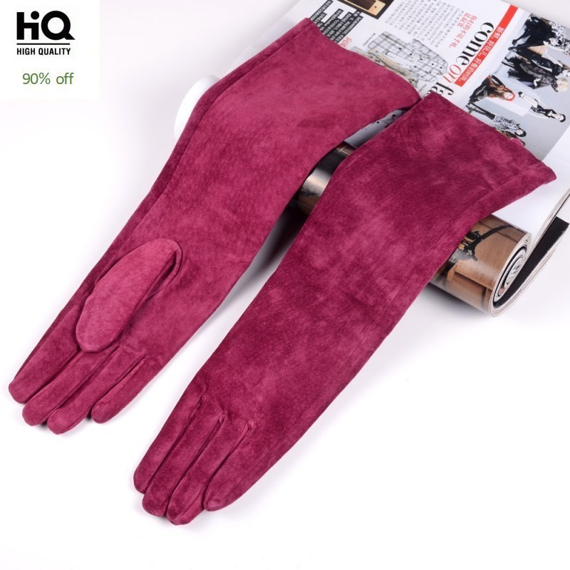 Winter Elegant Women's 100% Genuine Leather 40cm Long Gloves High QualityPigskin Leather Gloves Soft Suede Mittens Female 2020