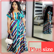 2019 African dress for women fashion robe africaine femme ankara long loose stripe maxi african jumpsuit clothing