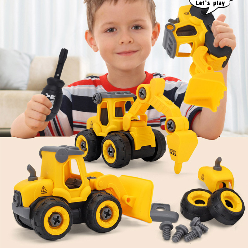 Children's Puzzle DIY Disassembly Engineering Car Combination Set Assembling  Excavator Bulldozer Drilling Car And Pressure Car