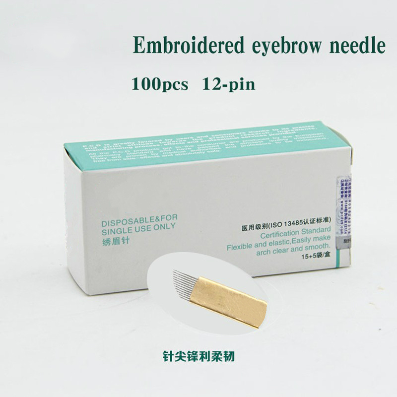 100 Pcs 12 Pin Permanent Makeup Eyebrow Tatoo Blade Microblading Needles For 3D Embroidery Manual Tattoo Pen