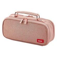 Kawaii tuval çift katmanlı büyük kapasiteli kalem kutusu çocuklar okul kalem kutusu malzemeleri kalem çantası kutusu kalem çantası kırtasiye